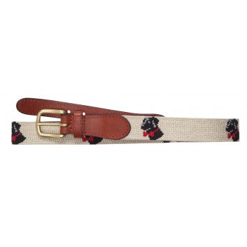 Tan Needlepoint Logo Belt